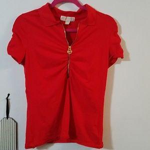 Michael Kors quarter zip t-shirt red EUC!!!